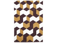LivingStyles Narris Cube Hand Tufted Rug in Brown - 165x115cm