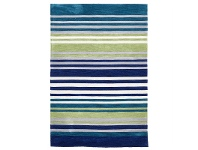 LivingStyles Abrash Stripes Hand Tufted Rug in Blue and Green - 225x155cm