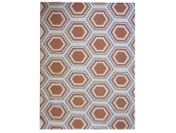 LivingStyles Sweden Honeycomb Hand Tufted Wool Dhurrie Rug, 280x190cm, Apricot