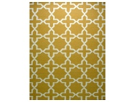 LivingStyles Sweden Anise Star Hand Tufted Wool Dhurrie Rug, 230x160cm, Yellow