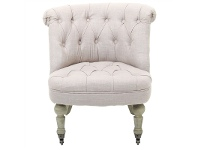 LivingStyles Flore Linen Fabric Wing Back Chair with Timber Legs on Wheels, Cream