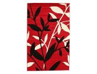 LivingStyles Icon Willow Leaves Modern Rug, 150x80cm, Red
