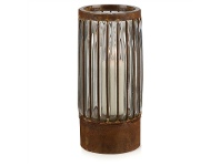 LivingStyles Cronus Rustic Iron & Glass Pillar Candle Holder - Medium