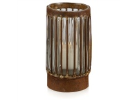 LivingStyles Cronus Rustic Iron & Glass Piller Candle Holder - Small