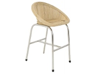 LivingStyles Jun Rattan & Stainless Steel Bar Stool