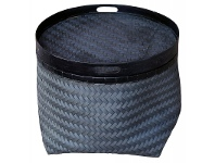 LivingStyles Thoreau Woven Basket with Bamboo Top, Black/Dark Blue