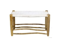 LivingStyles Onni Solid Timber 80cm Peasant Bench with Cotton Seat - Natural