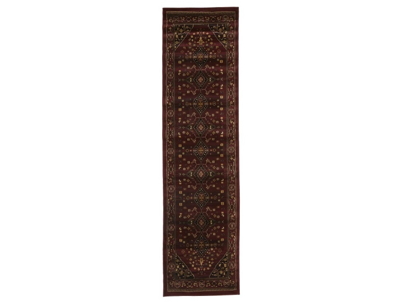 Istanbul Shiraz Turkish Made Oriental Rug, 400x80cm, Burgundy