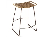 LivingStyles Surya Metal Counter Stool with Rattan Seat