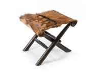 LivingStyles Actor Timber Foldable Low Stool with Goat Hide Seat
