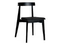 LivingStyles Ito Commercial Grade Solid Timber Dining Chair with PU Seat, Black