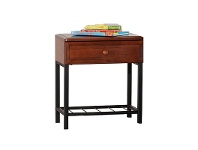 LivingStyles Jacob Metal and Timber Bedside Table