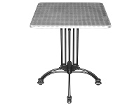 Trieste Commercial Grade Square Dining Table, 70cm, Silver / Black