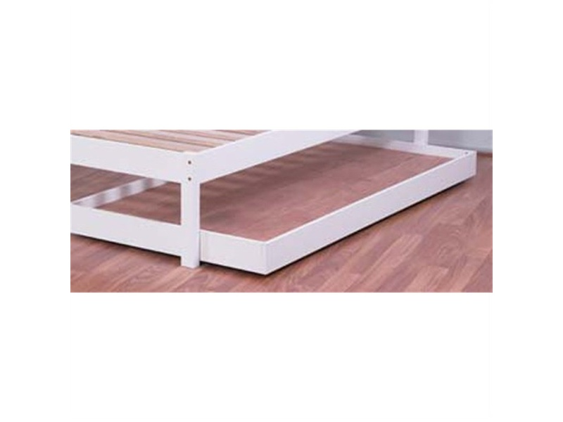Budget Wooden Trundle Bed, King Single, Arctic White