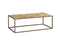 LivingStyles Ajax Mango Wood Timber and Metal 120cm Coffee Table