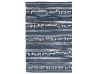 LivingStyles Noir Handwoven Wool Rug, 230x160cm, Denim
