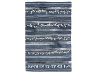 LivingStyles Noir Handwoven Wool Rug, 280x190cm, Denim