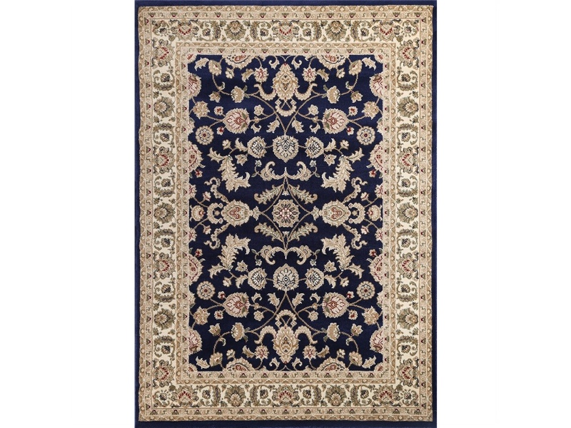 Julian Tait Turkish Made Oriental Rug, 330x240cm, Navy / Cream