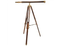 LivingStyles Avalon Solid Brass and Leather Timber Telescope on Timber Tripod