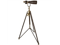 LivingStyles Imperia Solid Brass and Leather Monocular on Tripod