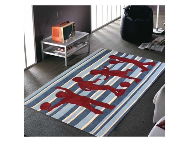 Funky Striped Kids Rug in Blue and Burgundy - 165x115cm