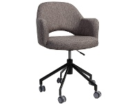 LivingStyles Albury Commercial Grade Gas Lift Fabric Office Armchair, Ash Grey / Black