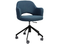 LivingStyles Albury Commercial Grade Gas Lift Fabric Office Armchair, Blue / Black