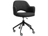 LivingStyles Albury Commercial Grade Gas Lift Fabric Office Armchair, Charcoal / Black
