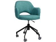 LivingStyles Albury Commercial Grade Gas Lift Fabric Office Armchair, Teal / Black