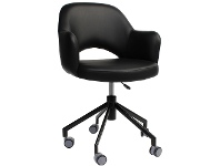 LivingStyles Albury Commercial Grade Gas Lift Vinyl Office Armchair, Black