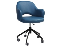 Albury Commercial Grade Gas Lift Vinyl Office Armchair, Blue / Black