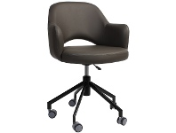LivingStyles Albury Commercial Grade Gas Lift Vinyl Office Armchair, Charcoal / Black