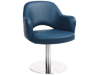 LivingStyles Albury Commercial Grade Vinyl Dining Stool with Arm, Metal Disc Base, Blue / Silver