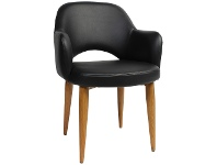 LivingStyles Albury Commercial Grade Vinyl Dining Armchair, Metal Leg, Black / Light Oak