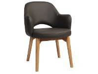 LivingStyles Albury Commercial Grade Vinyl Dining Armchair, Timber Leg, Charcoal / Light Oak