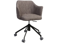 LivingStyles Coogee Commercial Grade Gas Lift Fabric Office Armchair, Ash Grey / Black