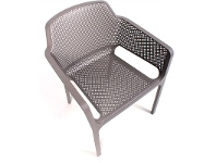 LivingStyles Net Italian Made Commercial Grade Stackable Indoor/Outdoor Armchair - Taupe