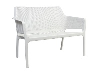LivingStyles Net Italian Made Commercial Grade Outdoor Bench, 116cm, White