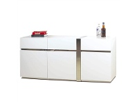 LivingStyles Crusty 3 Door 3 Drawer Buffet Table, 180cm, High Gloss White / Silver