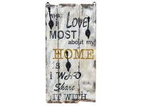 """LivingStyles """"Home"""" Timber Wall Panel with Hooks"""