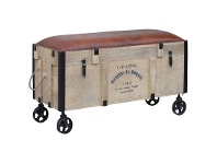 LivingStyles Grains Industrial Railway Bed End Chest