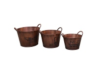LivingStyles Arlington 3 Piece Metal Pail Set
