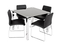 LivingStyles Kimbrell 5 Piece Dining Set with Black Coogee Charis