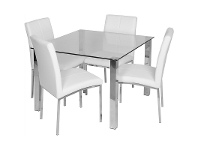 LivingStyles Mcarthur 5 Piece 100cm Square Dining Set - Clear/White