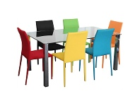 LivingStyles Kimbrell 7 Piece Dining Set with Assorted Colour Sven Chairs