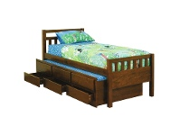 LivingStyles Kruz Wooden Captain Bed with Trundle & Storage Drawers, King Single, Walnut