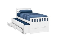 LivingStyles Kruz Wooden Captain Bed with Trundle & Storage Drawers, Single, Arctic White