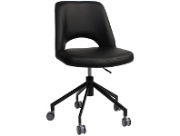 LivingStyles Albury Commercial Grade Gas Lift Vinyl Office Chair, Black