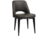 LivingStyles Albury Commercial Grade Vinyl Dining Chair, Metal Leg, Charcoal / Black