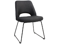 LivingStyles Albury Commercial Grade Fabric Dining Chair, Metal Sled Leg, Charcoal / Black